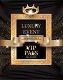PASSAGGIO di lusso di evento VIP con la struttura d'annata, il nastro dell'oro ed il fondo del tessuto Immagini Stock Libere da Diritti