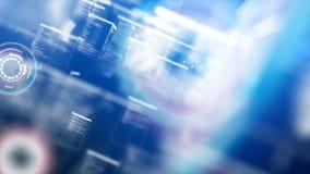 Passaggio flighting del fondo astratto con illuminazione della particella per il concetto futuristico di tecnologia cyber sopra f illustrazione vettoriale