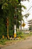 Passaggio a livello con l'albero di bambù in Indonesia immagine stock libera da diritti