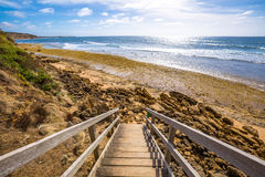 Passaggio pedonale alla spiaggia di Belhi in Victoria Fotografia Stock