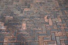 Passaggio pedonale del cobblestone del mattone Immagine Stock Libera da Diritti