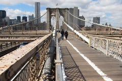 Passaggio pedonale del ponte di Brooklyn Immagini Stock Libere da Diritti