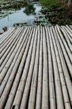 Passaggio pedonale di bambù sullo stagno fotografie stock libere da diritti