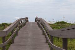 Passaggio pedonale di legno di accesso della spiaggia Fotografie Stock Libere da Diritti