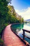 Passaggio pedonale di legno intorno al lago sanguinato Immagine Stock Libera da Diritti