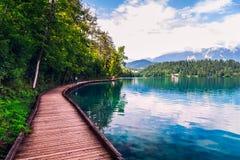 Passaggio pedonale di legno intorno al lago sanguinato Fotografia Stock
