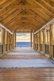 Passaggio pedonale di legno, Los Antiguos, Argentina fotografia stock libera da diritti