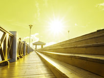 Passaggio pedonale di legno lungo Immagine Stock Libera da Diritti