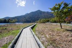 Passaggio pedonale di legno nel lago Yunoko, Nikko, Tochigi, Giappone Fotografie Stock