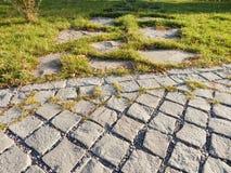 Passaggio pedonale di pietra delle mattonelle in un parco fotografia stock libera da diritti