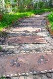 Passaggio pedonale di pietra in giardino Fotografia Stock Libera da Diritti