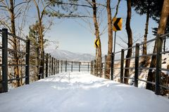 Passaggio pedonale di Snowy immagini stock