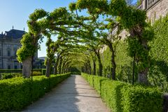 Passaggio pedonale invaso nel giardino del cortile del resid di Wurzburg fotografia stock