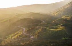 passaggio pedonale nella nebbia al tramonto sopra il vulcano Etna Fotografia Stock Libera da Diritti