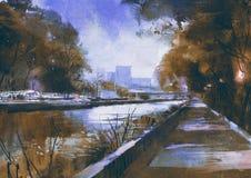 Passaggio pedonale romantico della riva del fiume Fotografia Stock Libera da Diritti