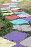 Passaggio pedonale variopinto del blocco nel giardino Fotografia Stock Libera da Diritti
