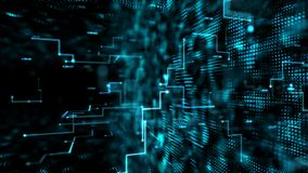 Passaggio scuro astratto di volo del fondo attraverso l'elemento digitale della particella per il concetto cyber di tecnologia di illustrazione di stock