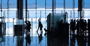 Passagier in de luchthaven Stock Foto