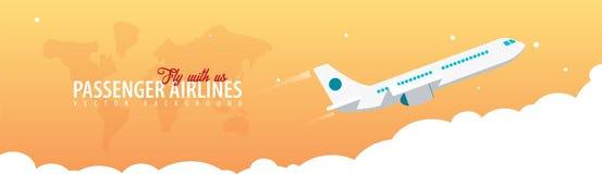 Passagier-Fluglinien Bewölkt Himmelhintergrund mit Flugzeug Auch im corel abgehobenen Betrag vektor abbildung