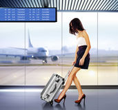 Passagier in luchthaven stock fotografie