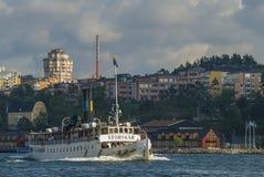 Dampfbootsfähre Storskaer Stockholm Stockfotos