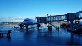 Passagierflugzeuge nahe der Leiter stock video
