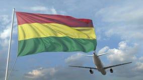 Passagierflugzeugfliegen über wellenartig bewegender Flagge von Bolivien Animation 3D stock video footage