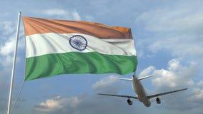 Passagierflugzeugfliegen über wellenartig bewegender Flagge von Indien Animation 3D stock abbildung