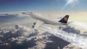 Passagierflugzeugfliegen der Animation 3d im Himmel über den Wolken stock abbildung