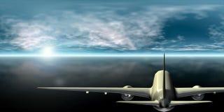 Passagierflugzeugfliegen in Richtung zur Sonne 3D Wiedergabe lizenzfreie stockfotografie