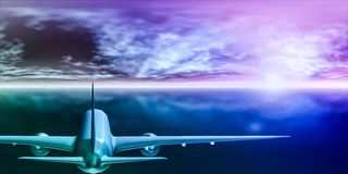 Passagierflugzeugfliegen in Richtung zur Sonne 3D Wiedergabe stockbild