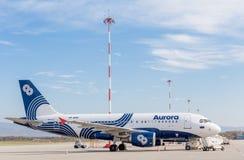 Passagierflugzeugflugzeuge Airbus A319 von Aurora Airlines auf Flugplatz Luftfahrt und Transport lizenzfreies stockbild