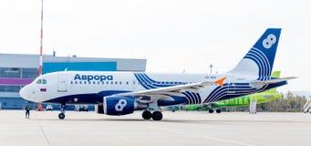 Passagierflugzeugflugzeuge Airbus A319 von Aurora Airlines auf Flugplatz Luftfahrt und Transport stockfotografie