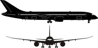 Passagierflugzeugschattenbild lizenzfreie abbildung