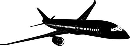 Passagierflugzeugschattenbild stock abbildung