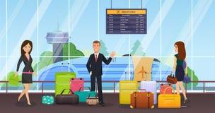 Passagiers met bagage, koffers, die op openbaar vervoer, vliegtuig wachten royalty-vrije illustratie