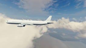 Passagierslijnvliegtuig in hemel met wolken royalty-vrije illustratie