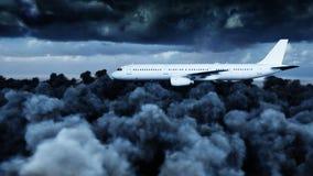 Passagiersluchtbus die in de wolken vliegen reis concept het 3d teruggeven Royalty-vrije Stock Foto