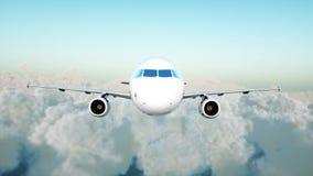 Passagiersluchtbus die in de wolken vliegen reis concept het 3d teruggeven Stock Foto