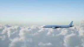 Passagiersluchtbus die in de wolken vliegen reis concept het 3d teruggeven Royalty-vrije Stock Foto's