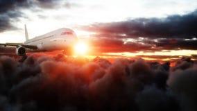 Passagiersluchtbus die in de wolken vliegen reis concept het 3d teruggeven Royalty-vrije Stock Afbeelding