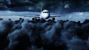 Passagiersluchtbus die in de wolken vliegen reis concept het 3d teruggeven Stock Afbeelding
