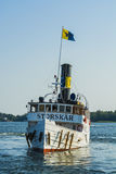 Passagiersstoomboot S/S Storskaer het manouvring Royalty-vrije Stock Afbeeldingen