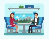 Passagierstrein binnen Man en vrouwenzetel in spoorwegvervoer Royalty-vrije Stock Fotografie