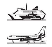 Passagiersvervoer door overzees en door de lucht vector illustratie