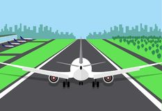 Passagiersvliegtuig aan het begin van de baan, die voor start voorbereidingen treffen Vectorillustratie van een vliegtuig, achter stock illustratie