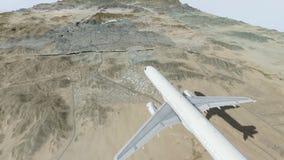 Passagiersvliegtuig aan makkah en de heilige plaatsen die bij daglicht vliegen stock illustratie