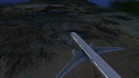 Passagiersvliegtuig aan makkah en de heilige plaatsen die bij nacht vliegen stock illustratie