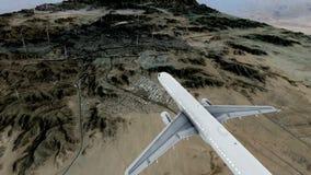Passagiersvliegtuig aan makkah en de heilige plaatsen die bij regen vliegen vector illustratie