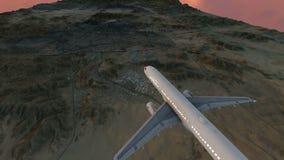Passagiersvliegtuig aan makkah en de heilige plaatsen die bij zonsondergang vliegen vector illustratie